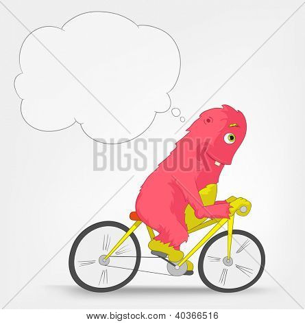 Cartoon Character Funny Monster Isolated on Grey Gradient Background. Biker. Vector EPS 10.
