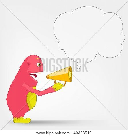 Cartoon Character Funny Monster Isolated on Grey Gradient Background. Speaker. Vector EPS 10.