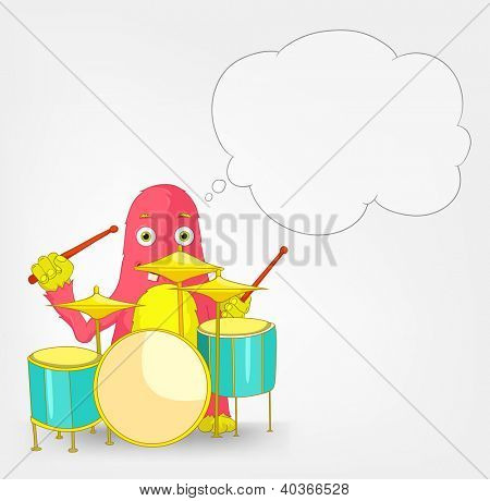 Cartoon Character Funny Monster Isolated on Grey Gradient Background. Drummer. Vector EPS 10.