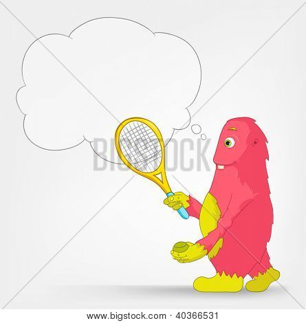 Cartoon Character Funny Monster Isolated on Grey Gradient Background. Tennis. Vector EPS 10.