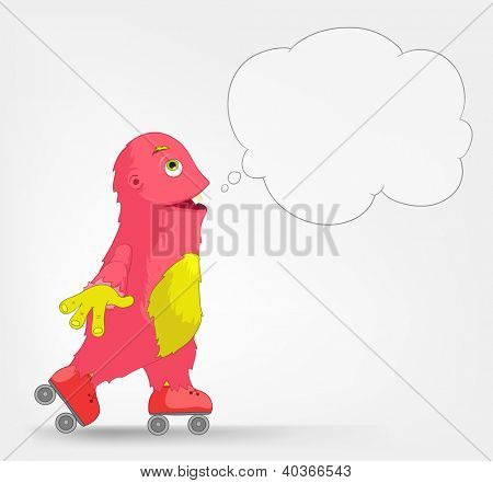 Cartoon Character Funny Monster Isolated on Grey Gradient Background. Roller. Vector EPS 10.