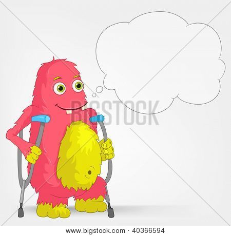 Cartoon Character Funny Monster on Grey Gradient Background. Disabled. Vector EPS 10.