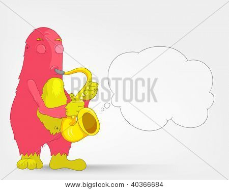 Cartoon Character Funny Monster Isolated on Grey Gradient Background. Saxophonist. Vector EPS 10.