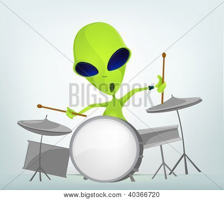 Cartoon Character Funny Alien Isolated on Grey Gradient Background. Drummer. Vector EPS 10.