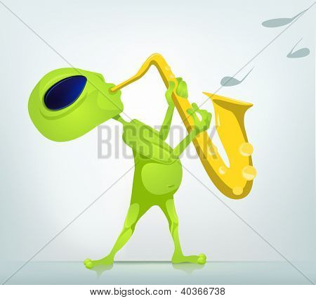 Cartoon Character Funny Alien Isolated on Grey Gradient Background. Saxophonist. Vector EPS 10.