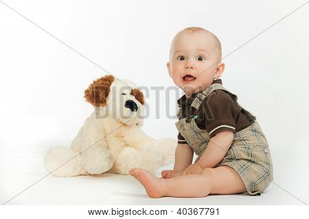 Happy boy with dog