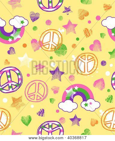 cute sunny scribble seamless background