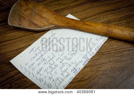 Recipe Card On Wooden Table And Spoon