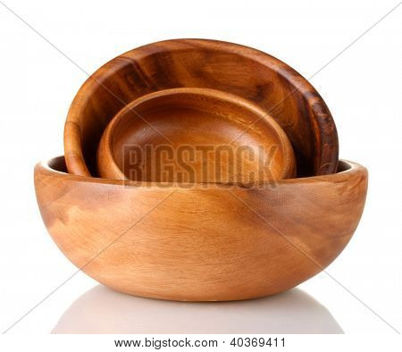 Wooden bowls isolated on white
