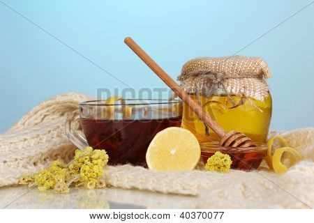 Healthy ingredients for strengthening immunity on warm scarf on blue background