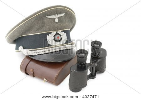 Old German Officer Cap And Field Glass