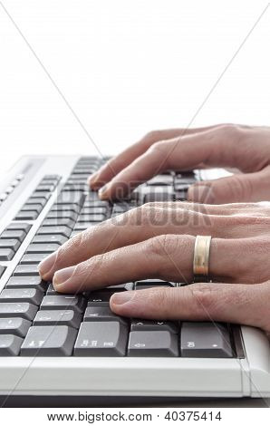 Typing On Keyboard