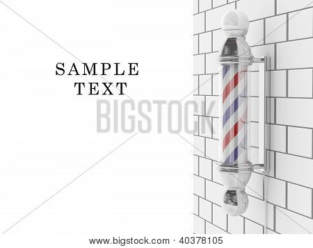 Barber Shop Pole. Hairdresser Symbol. 3D Icon On White Background