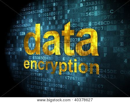 Information concept: data encryption on digital background