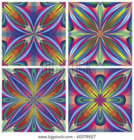 Set of seamless art deco tiles