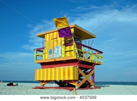Yellow And Orange Art Deco Lifeguard Tower