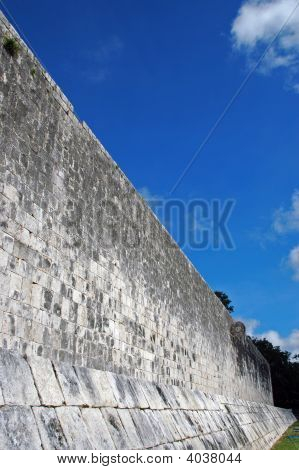 Wall For Ancient Mayan Ball Court With Goal