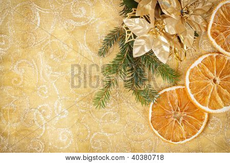Christmas Background With Needles And Orange Slices