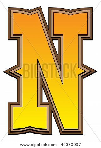 Western Alphabet Letter - N