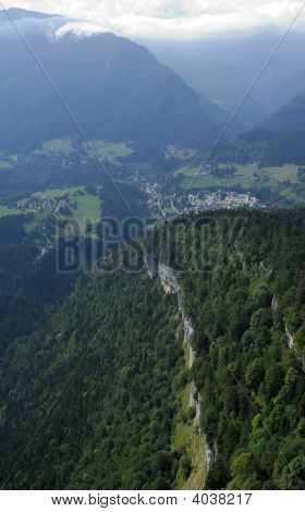 Aerial View Of Cliff In Chartreuse Valley