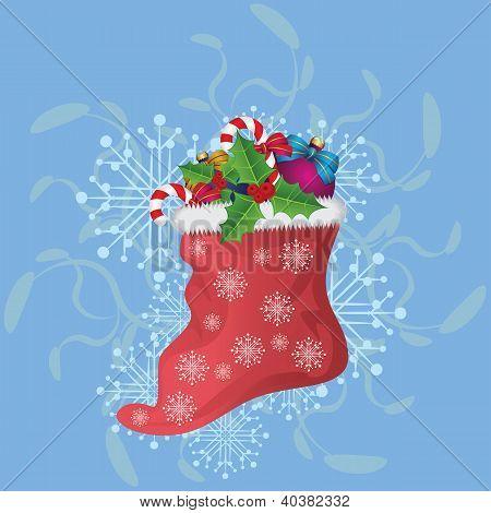 Christmas Sock On Blue Background