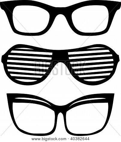 Three different  glasses vector  frames