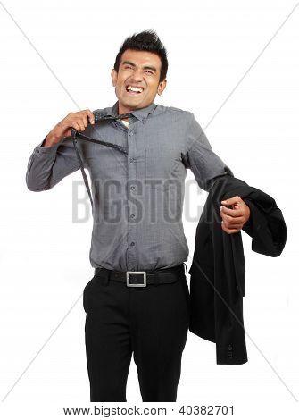 Tired Businessman Untying His Tie