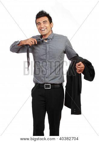 Young Businessman Untying His Tie