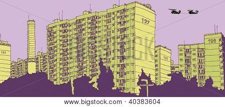 Tower blocks in city