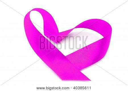 Pink heart ribbon bow