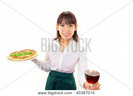 Working waitress