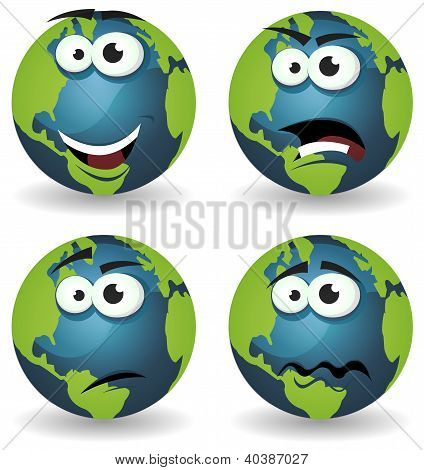Cartoon Earth Icons Emotions