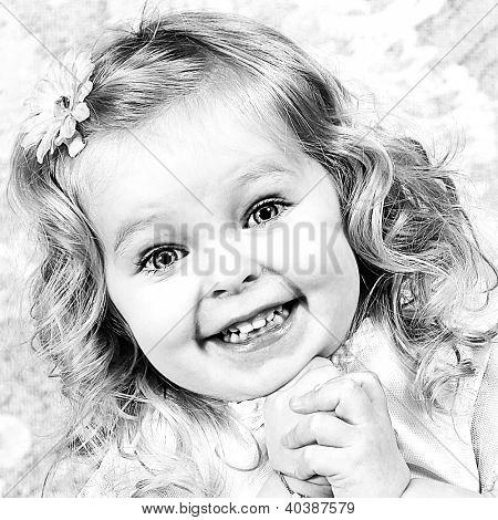 Beautiful Little Girl - Head Shot - Taken closeup, Black and White