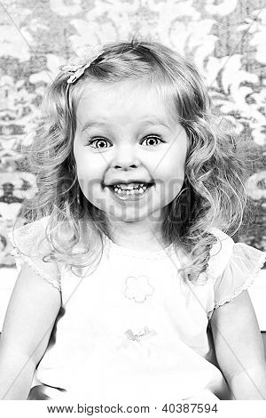 Beautiful Little Girl - Head Shot - Taken closeup, Black and White