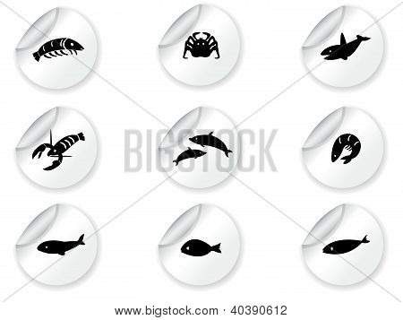Stickers with ocean life icons 2