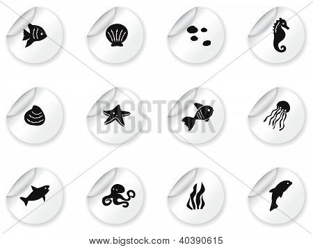 Stickers with ocean life icons
