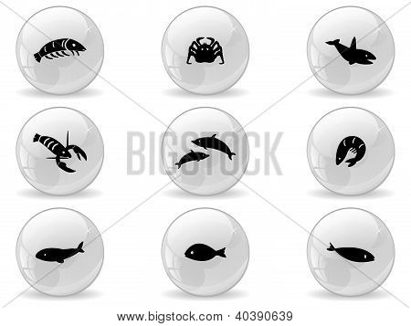 Web buttons, ocean life icons 2