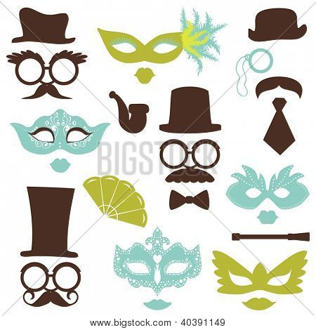 Retro Party set - Glasses, hats, lips, mustaches, masks - for design, photo booth, scrapbook in vector