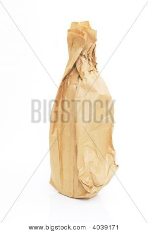 Brown Paper Bag With A Bottle