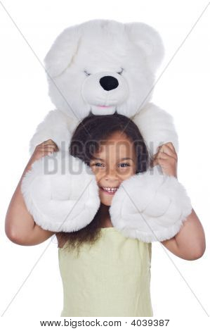 African Girl With Teddy Bear
