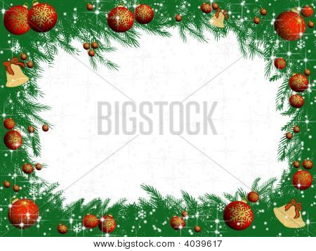 Christmas Decorated Pine Tree Branches Frame