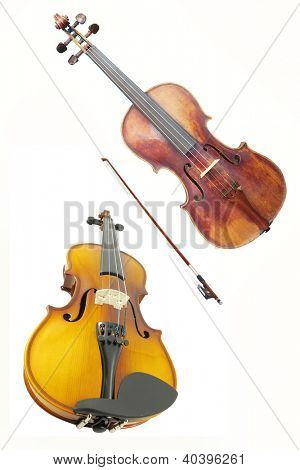 violoncello and violin isolated under the white background