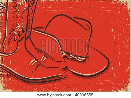 Cowboy Boots And Western Hat .sketch Illustration On Red Background