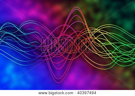 Curved lines over spectral background