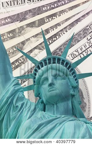Statue Of Liberty And Dollars Background
