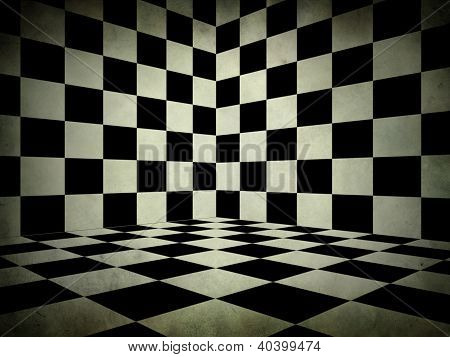 Black And White Check Room