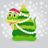 pic of green tree python  - Illustration of green snake with Christmas tree - JPG