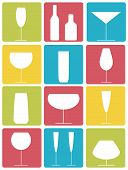pic of red wine  - Set of various glasses and bottles colorful icons - JPG
