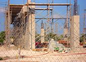 stock photo of firehouse  - Construction site for a new Firehouse - JPG