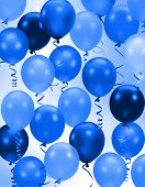 stock photo of birthday party  - Celebration or birthday Party blue balloons background - JPG